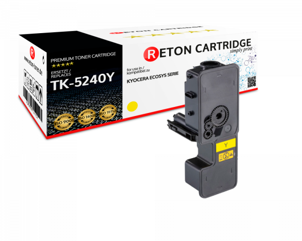 Original Reton Toner | 50% höhere Druckleistung | ersetzt Kyocera TK-5240Y gelb