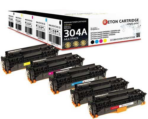 5 Original Reton Toner kompatibel zu hp 304A / CC530A,CC531A,CC532A,CC533A