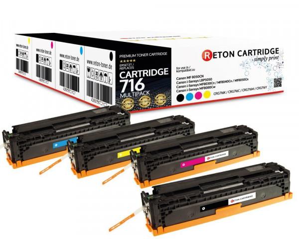 4 Reton Toner +35% mehr Druckleistung ersetzen Canon 716BK,716C,716M,716Y