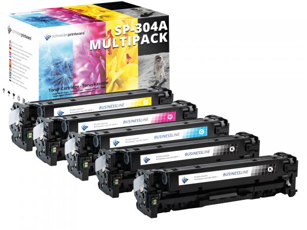 5 Toner +30% mehr Leistung ersetzen HP 304A