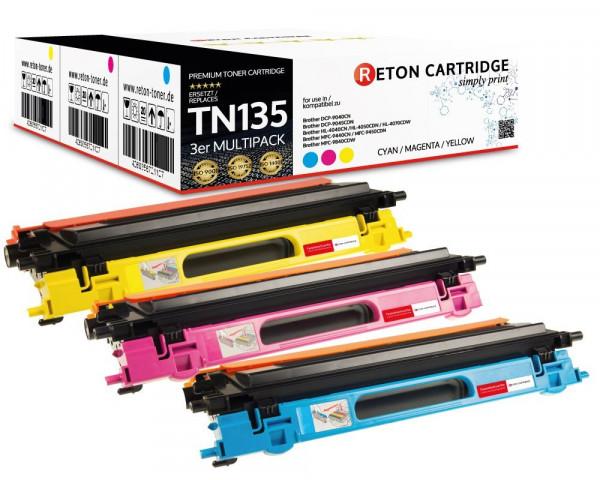 3 Original Reton Toner ersetzen Brother TN-135C,TN-135M,TN-135Y