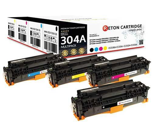 4 Reton Toner kompatibel zu hp 304A / CC530A,CC531A,CC532A,CC533A