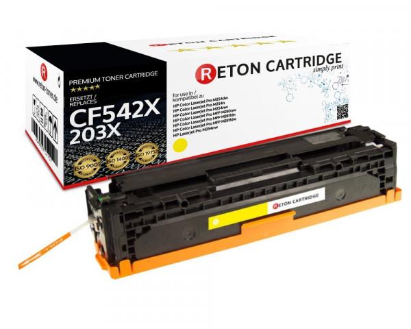 Original Reton Toner |40% höhere Druckleistung | ersetzt HP 203X, CF542X gelb