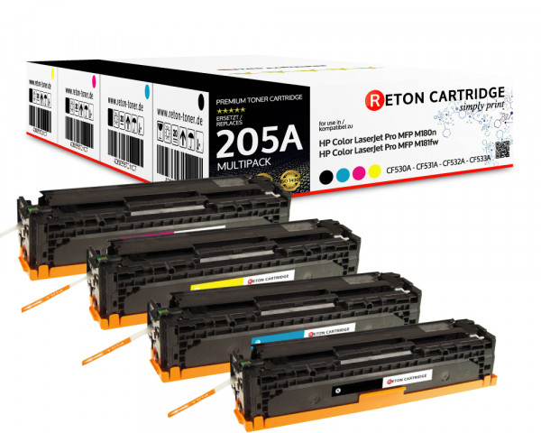 Kompatibel Toner 40% mehr Leistung für HP Color LaserJet Pro MFP M181fw 205a - Set