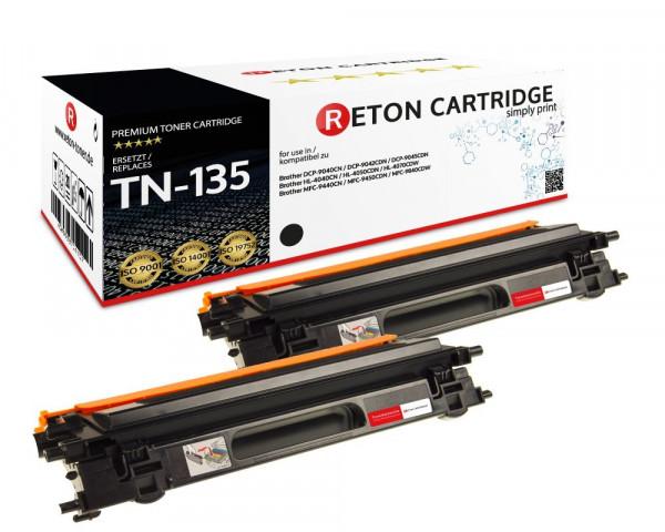 2 Original Reton Toner ersetzen Brother TN-135BK schwarz