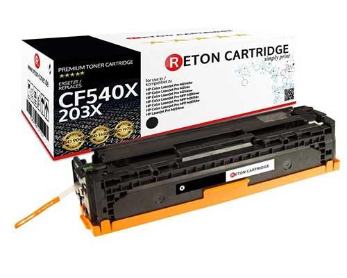 Original Reton Toner |40% höhere Druckleistung | ersetzt HP 203X, CF540X schwarz