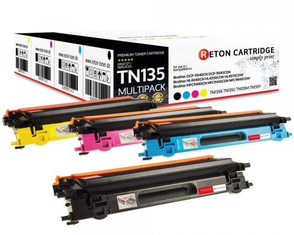 4 Original Reton Toner ersetzen Brother TN-135BK,TN-135C,TN-135M,TN-135Y